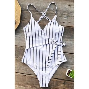 Cupshe | White Striped Wrap One Piece Swimsuit
